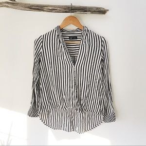 Zara • TRF Vertical Black White Stripe Blouse Top